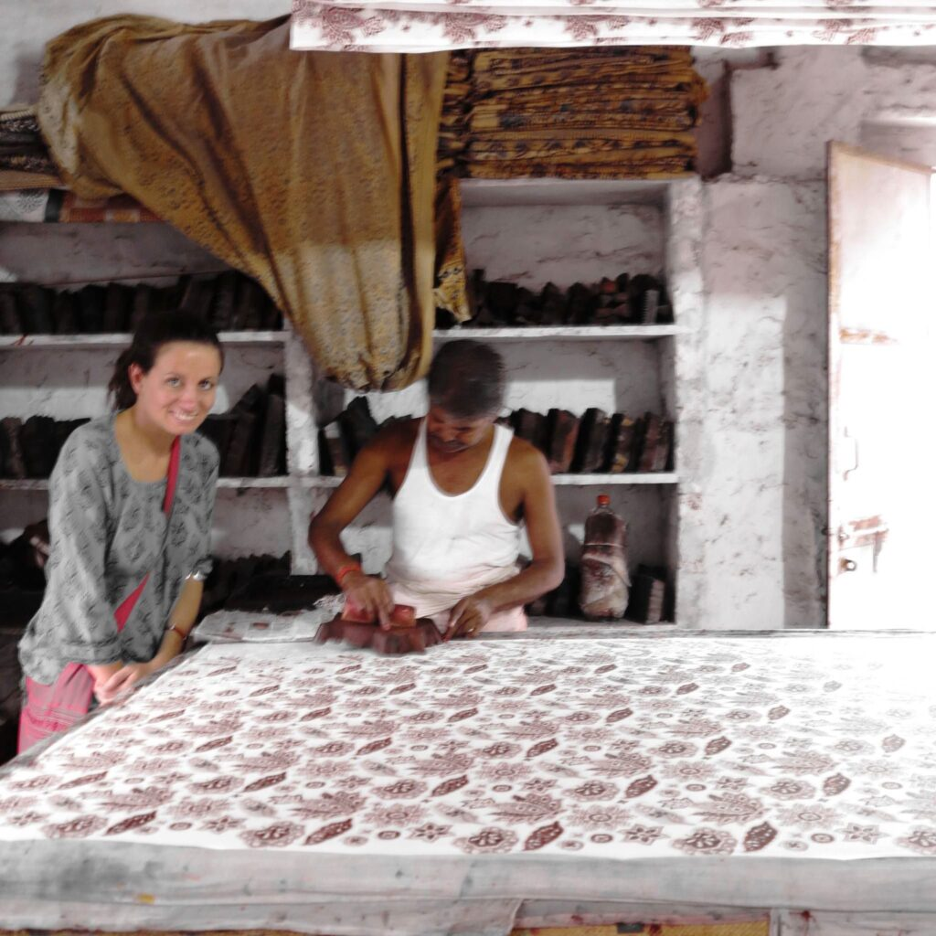 Rosie our Wild Rose founder at the block printing factory in Jaipur India