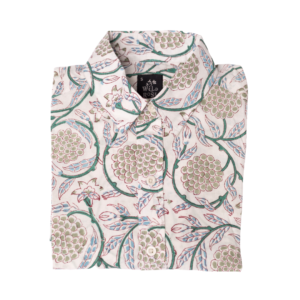 A folded shirt with Grape pattern print.