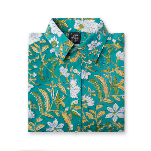 A folded shirt with floral pattern print.