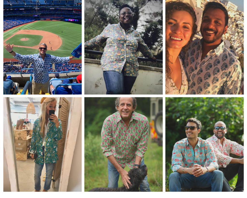 montage of people wearing printed shirts from Wild Rose Kenya