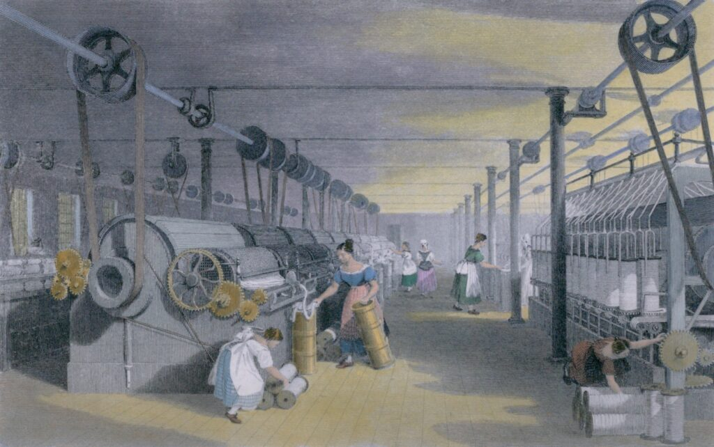 Machines making cotton thread in a mill in Lancashire England ca 1835